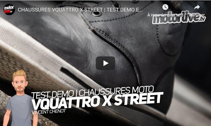 Essai Motoservices : chaussures moto X-street Vquattro design
